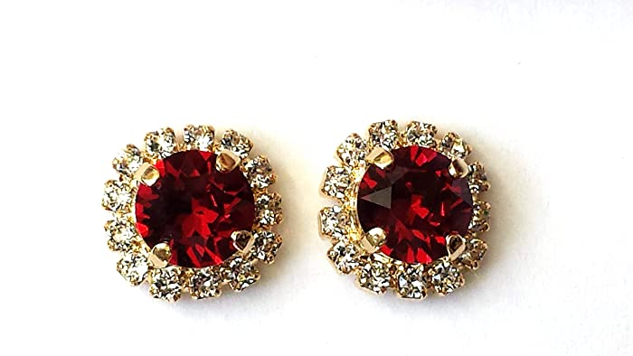 8ceb1cdf8 Amazon.com: Swarovski Ruby Stud Earrings Red Crystal Rhinestone Studs:  Handmade