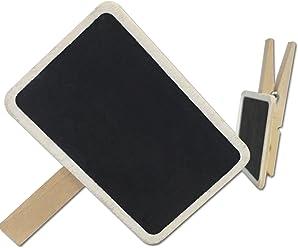 EinsSein 12x Kreidetafel Quadrat Klammer 6,5x4,5cm Tafel Clip Tischkarten Hochzeit
