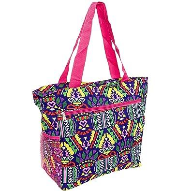 Amazon.com: Silverhooks Womens Aztec Beach Tote Bag w/ Pink Trim ...