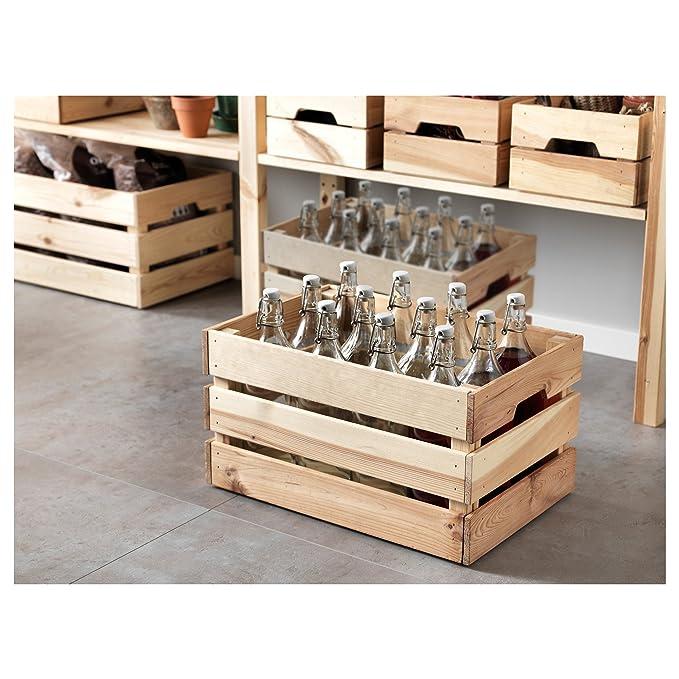Amazon.com: IKEA knagglig clásico Unfinished Madera Cesta De ...