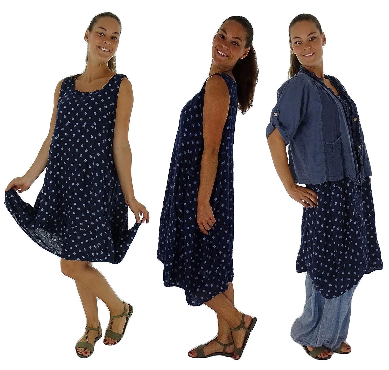 Mein Design Lagenlook de Mallorca Damen Kleid HE700 Plus Size Longtunika Ballonkleid Used Look Punkte Leinen ohne Arm Eingrifftaschen Gr. 46 48 50