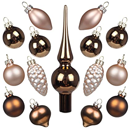miniature ornaments and tree topper kingyee christmas mini glass tree decorations set of 15 for tabletop - Amazon Christmas Tree Decorations