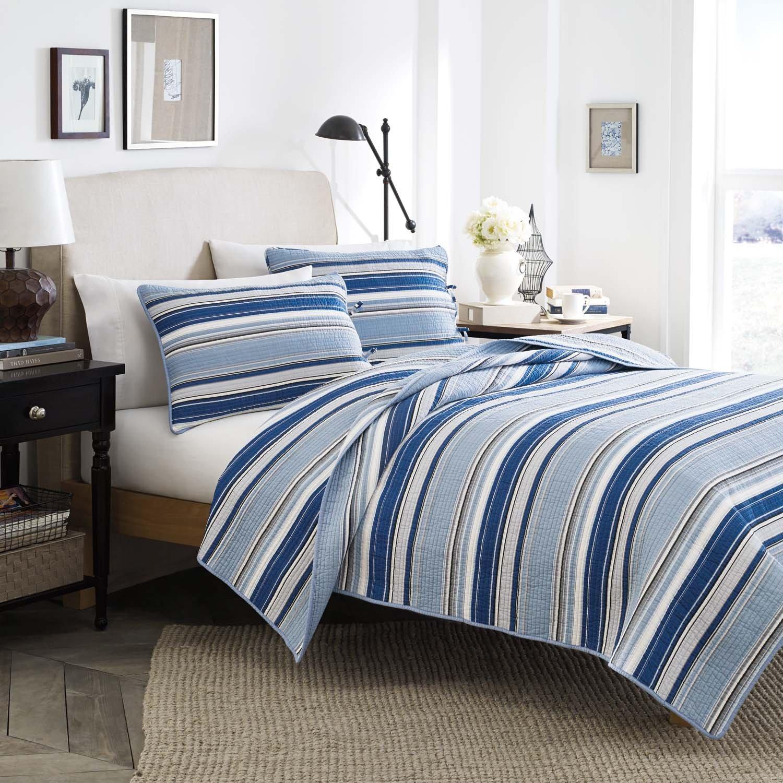 Amazon Stone Cottage Fresno Cotton Quilt Set King Blue Home