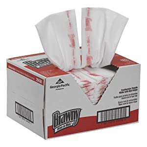 Brawny 1/4-Fold All Purpose Disposable Food Prep and Bar Towel by GP PRO (Georgia-Pacific), 29430, White (150 Wipers in Pack)