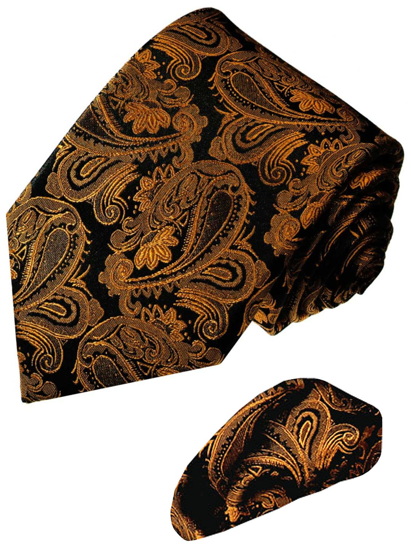 LORENZO CANA - Luxury Italian 100% Silk Tie Hanky Set Brown Black - 7714401