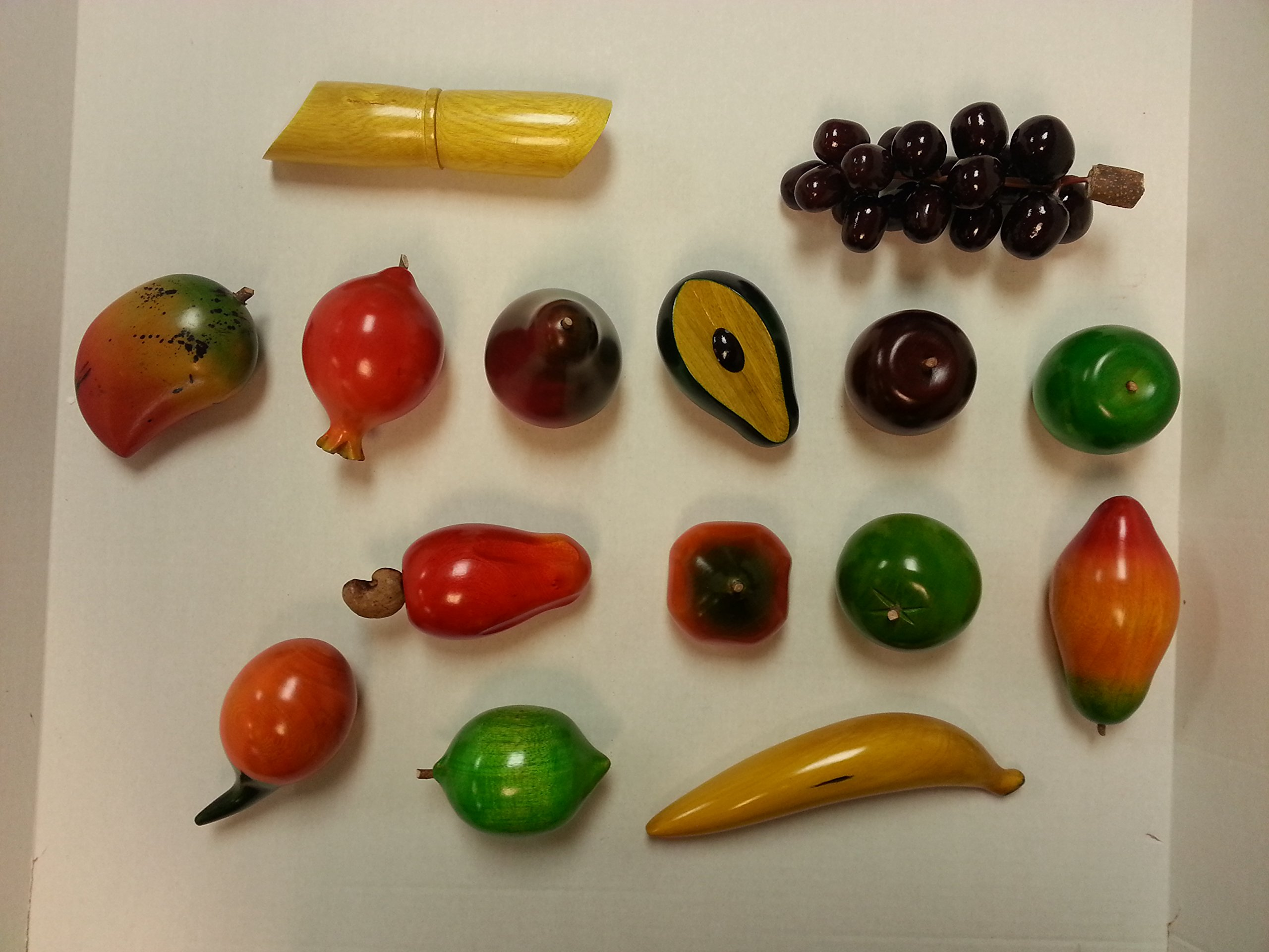 Set of 15 Hand Painted Wood Fruit Set