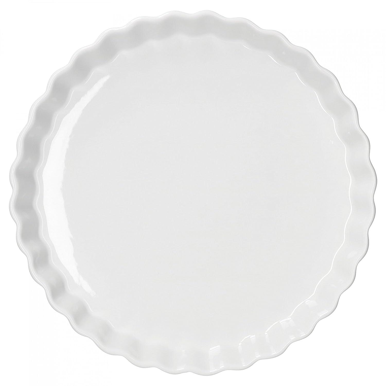 H 40 mm Kochen hitzebest/ändig /Ø 275 mm wellige Auflaufform aus Porzellan Backen Geschirr wei/ß gro/ße Kuchenform Van Well Quiche-Form rund