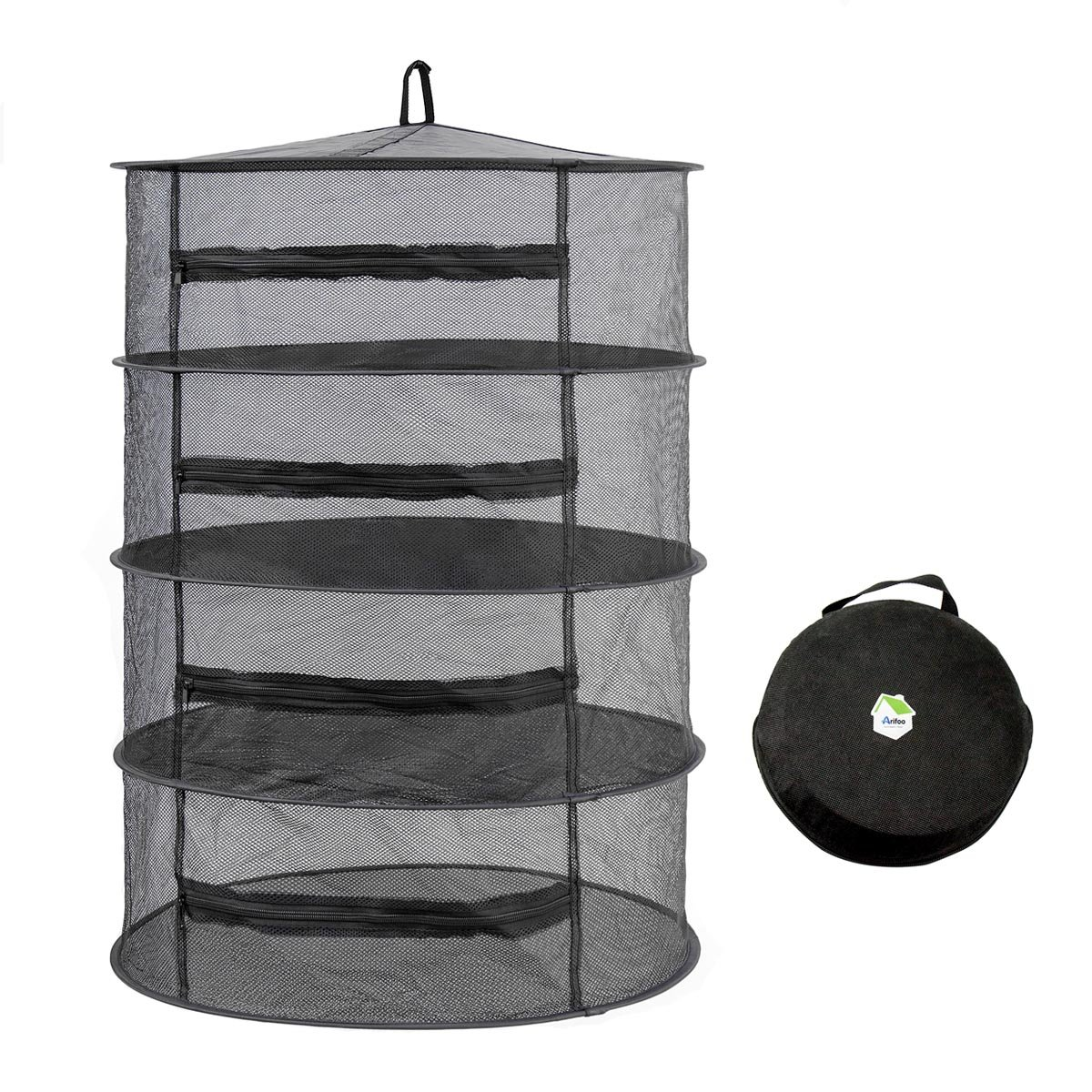 Arifoo Herb Drying Rack Hanging Drying Racks 4 Layer Collapsible Herb Drying Rack Hanging with Zipper Design (Black)