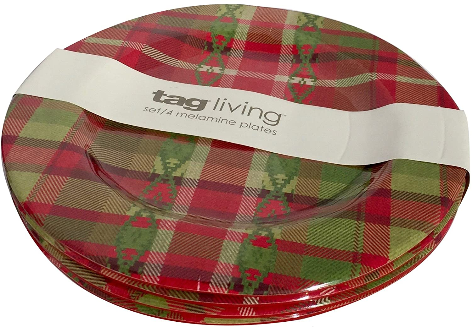 tag Living Set of 4 Melamine Appetizer Dessert Plates 6.5 Inch Holiday Plaid South Western Style Pattern