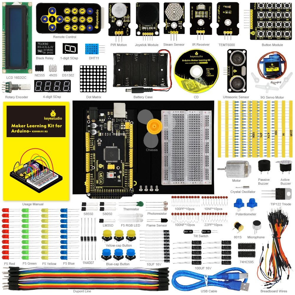 KEYESTUDIO for Arduino Starter Kit with Mega 2560 R3 and Holder (also available for Arduino UNO R3 Arduino Nano Pro Micro Mini Raspberry Pi by KEYESTUDIO