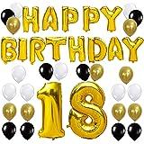 KUNGYO Happy Birthday Lettere Alfabeto Balloon+Numero 18 Mylar Foil Palloncini+24 Pezzi Oro Bianco Nero Lattice Balloons- Perfetto per Decorazioni di Festa di Compleanno di 18 Anni