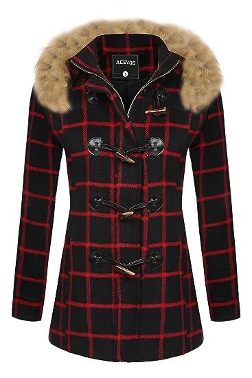 e032e15738b ACEVOG Women's Wool Coat Fur Trim Hooded Parka Jacket Coat Outwear