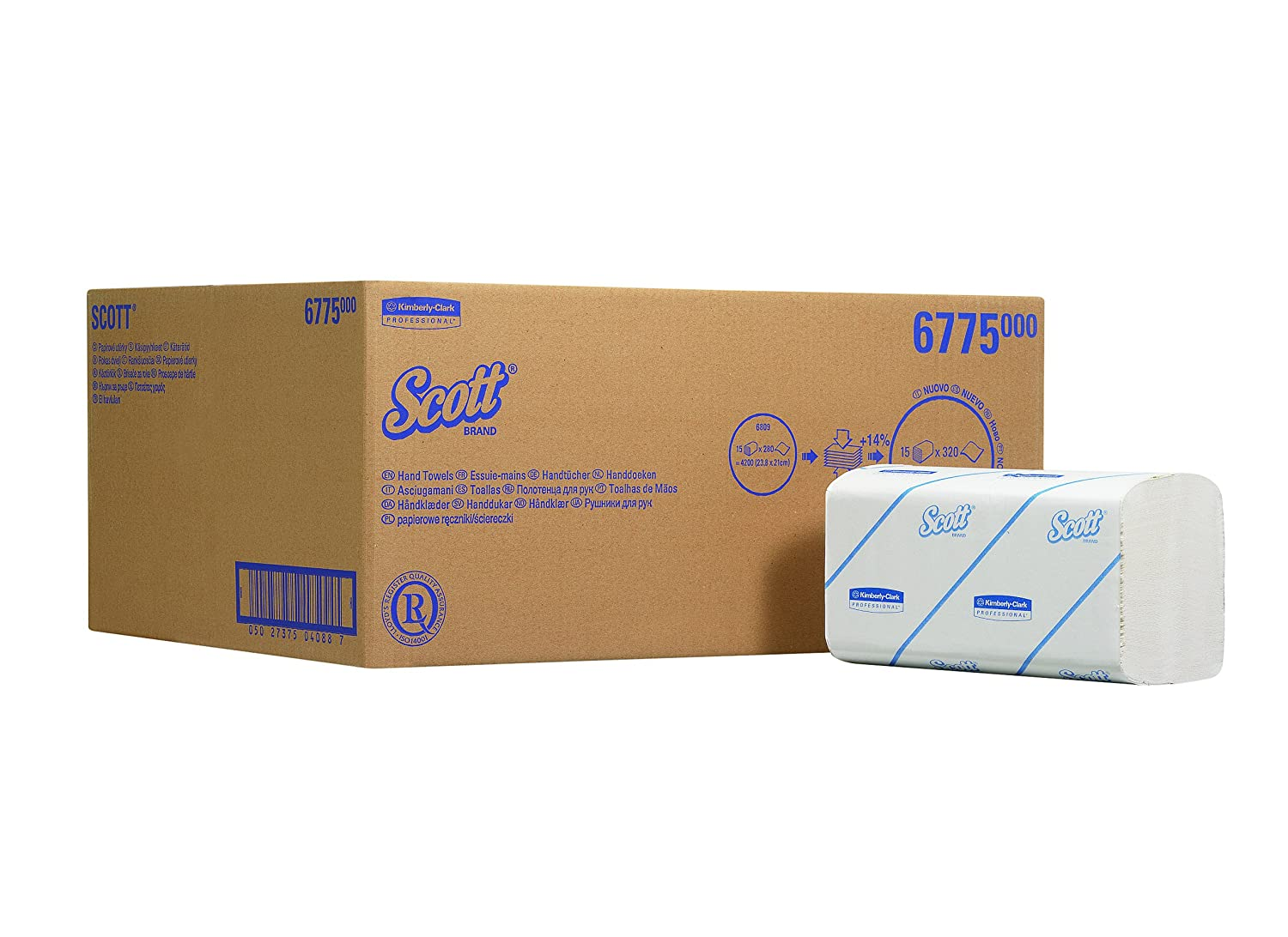 Scott 6775 Interfolded Hand Towels, White, One Ply Sheets Per Pack, 320 (Case Contains 15 Packs) Kimberly-Clark Professional (EU)