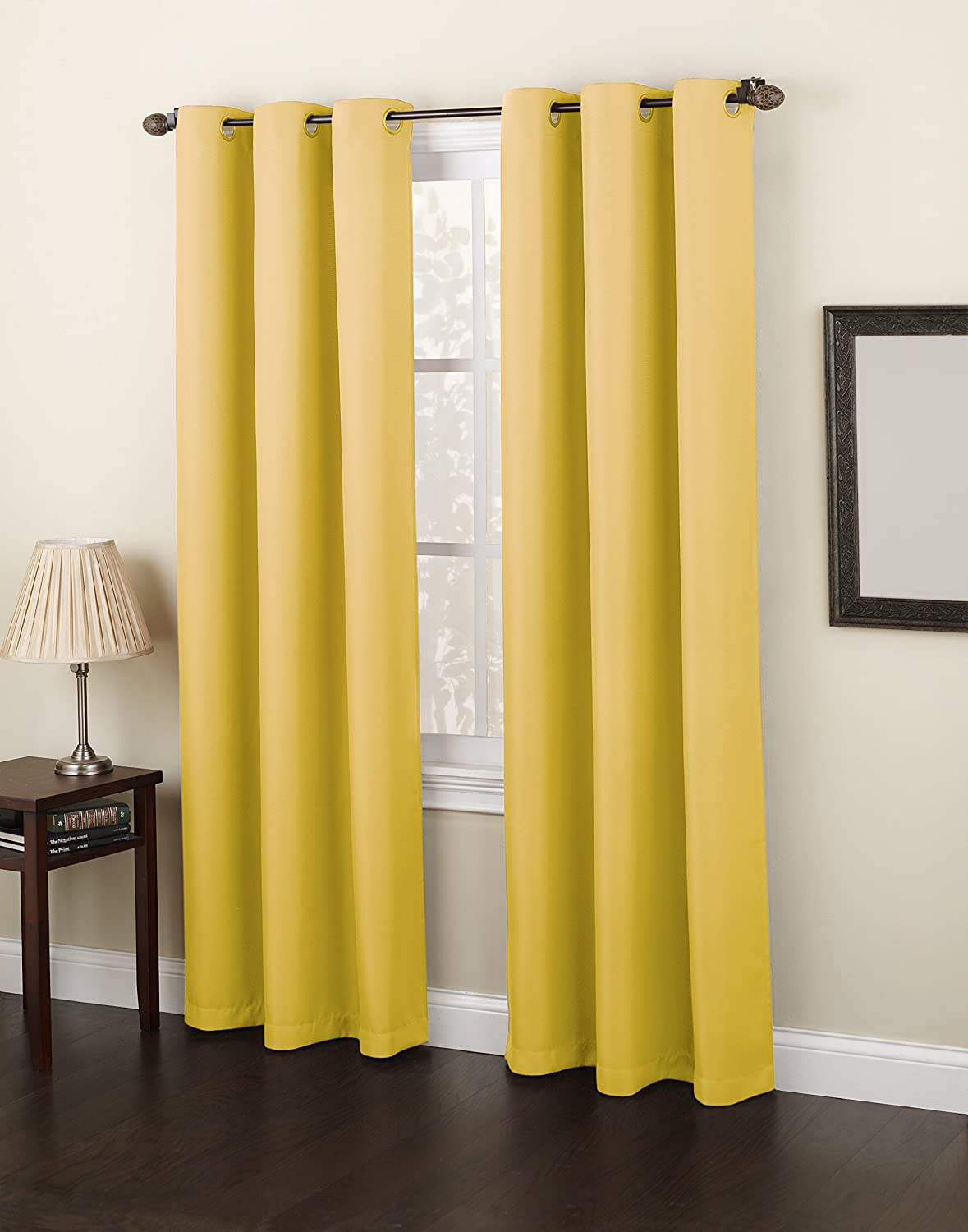 No. 918 Montego Casual Textured Grommet Curtain Panel Yellow