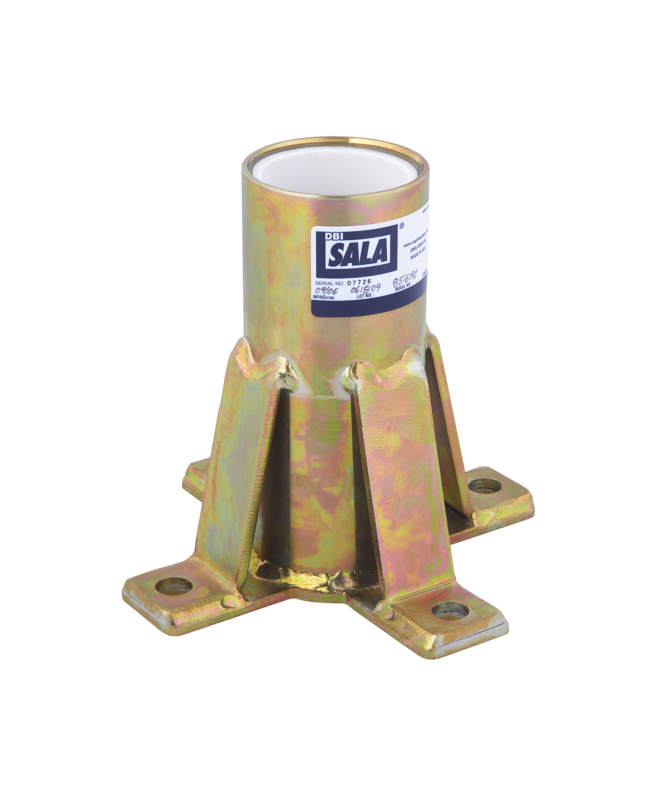 3M DBI-SALA Advanced 8516190 Confined Space System, Floor Mount Sleeve Davit Base, Zinc Plated, for Advanced Offset Davit Mast, Yellow Zinc