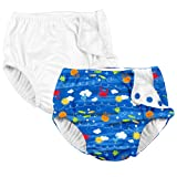 i play. 2PK Absorbent Reusable Toddler Swim Diapers White and Royal Ocean Fish 4T
