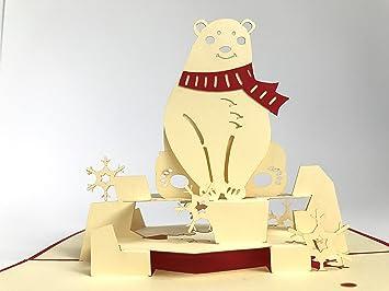 Carte de noël blanc ours portant Écharpe rouge carte pop up