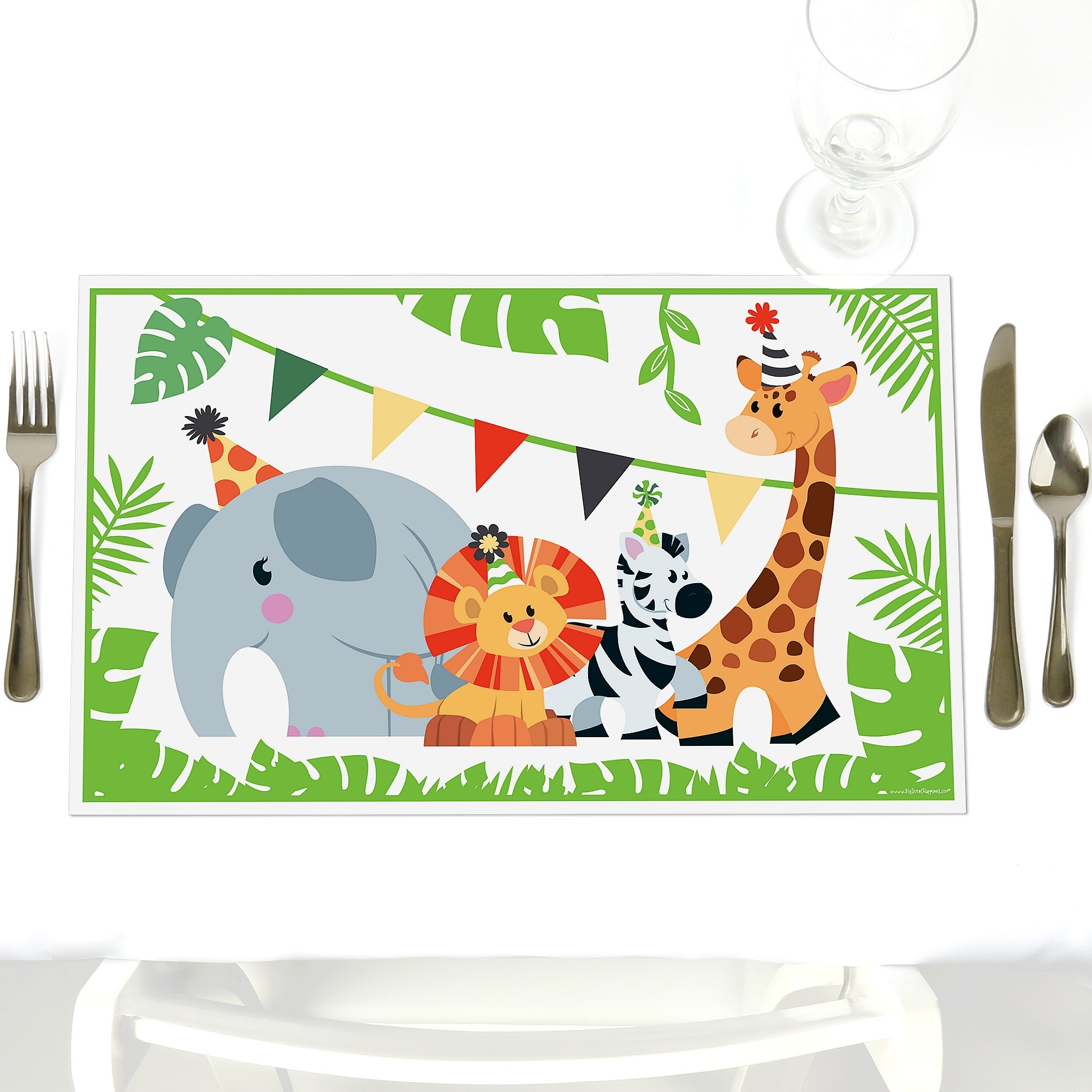 Jungle Party Animals - Party Table Decorations - Safari Zoo Animal Birthday Party or Baby Shower Placemats - Set of 12