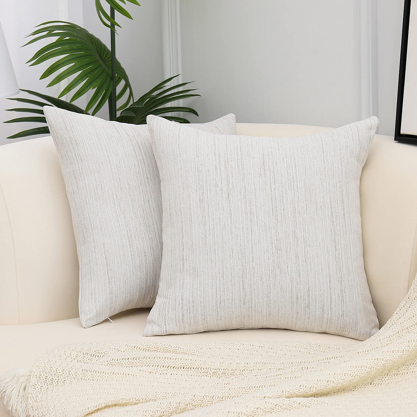 JJHYMYWW Throw Pillow Covers Decorative Linen 18 x 18 Inches Square Pillowcases