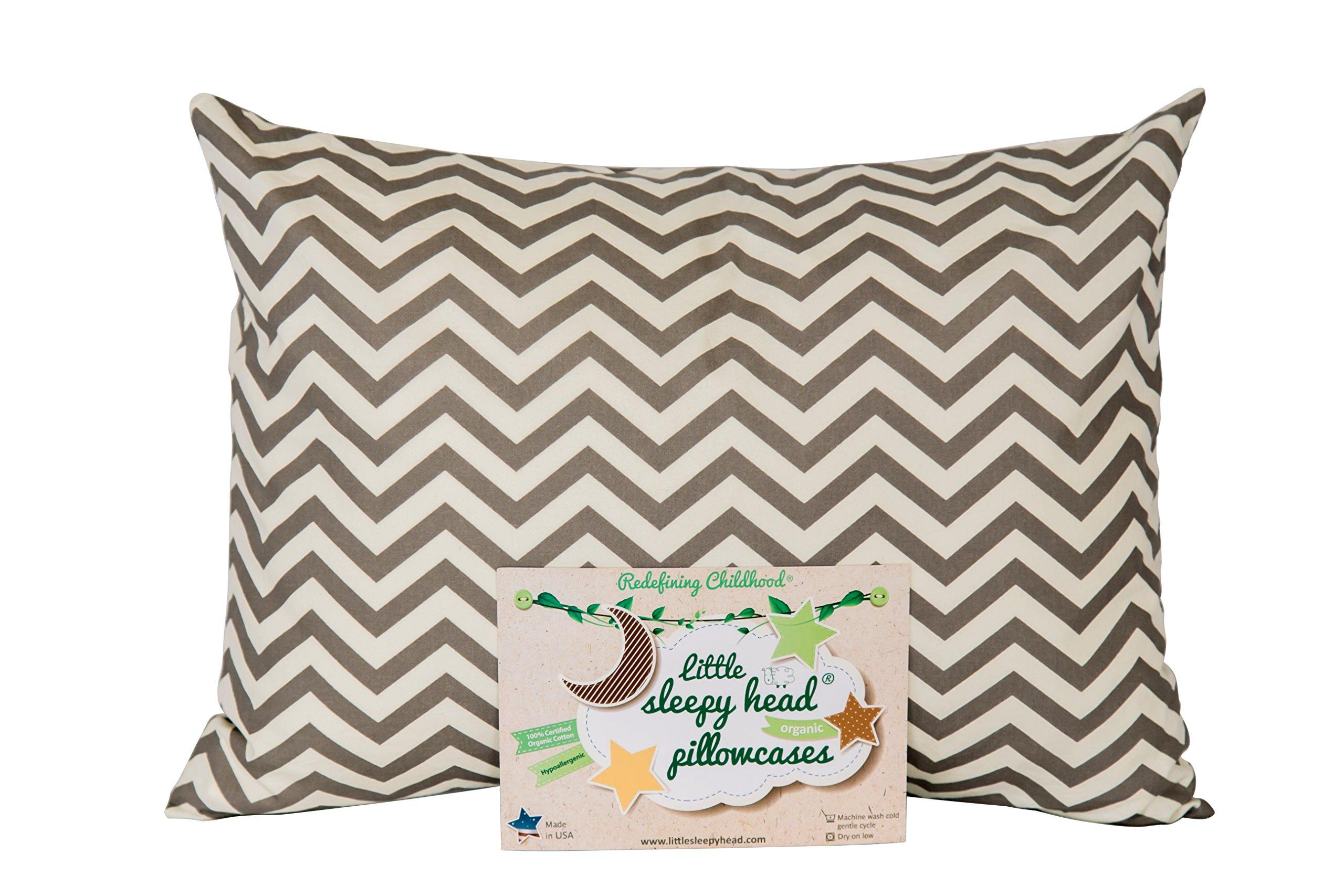 Little Sleepy Head Toddler Pillowcase - Organic Collection (Chevron Gray)