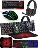 Gaming Keyboard and Mouse and Mouse pad and Gaming Headset, Wired LED RGB Backlight Bundle for PC Gamers and Xbox and…