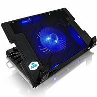 AAB Cooling NC20 - Bases de Refrigeración con 1 Ventilador, Regulación del Ángulo de Inclinación y Retro iluminación, para Portátil, negro
