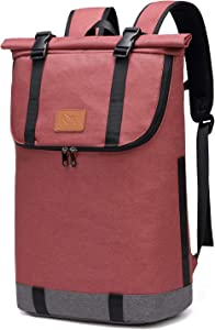 30L Roll-top Hiking Backpack, Travel Packable Laptop Daypack Camera Daypack School Bag for Running, Hiking, Cycling, Camping, Fits 15.6 Inch Notebook (Winered)
