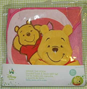 Amazon.com : New Disney Winnie The Pooh Pink Yellow Red Hooded Baby Bath Towel Hand Mitt Set : Baby