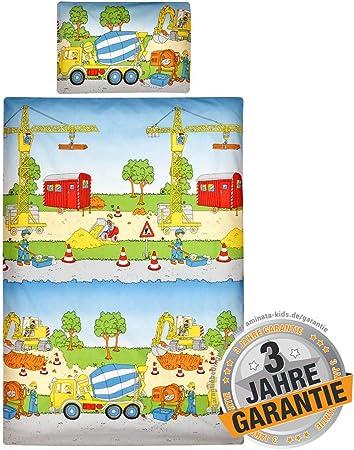 weich /& kuschelig Baby Bettw/äsche-Set Betonmischer bunt Baustelle 40 x 60 cm Baumwolle Rei/ßverschluss Bagger-Motiv Aminata Kids Kinderbettw/äsche 100 x 135 cm
