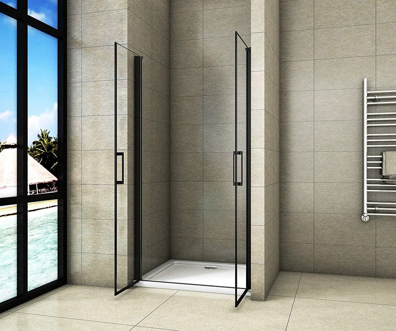 Cabina de ducha con puerta giratoria de doble puerta de cristal de seguridad de 8 mm con nanorrevestimiento, 200 cm de altura: Amazon.es: Bricolaje y herramientas