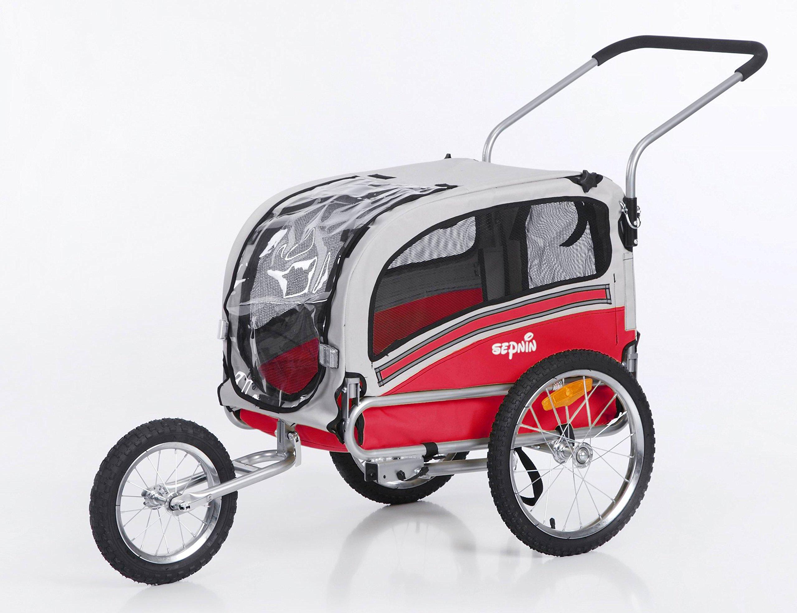 Sepnine & Leonpets Dog cart Trailer and Jogger of 2 in1 Medium pet Dog Bike Trailer Bicycle Carrier and Jogger 20303 (red/Grey) by Sepnine