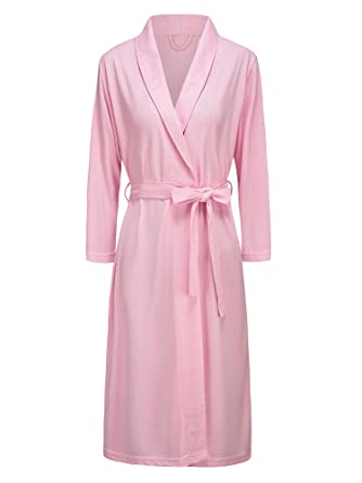 f878f757b4 Womens Kimono Bathrobe Dressing Gown Lightweight Knee-length Hotel Spa Robe