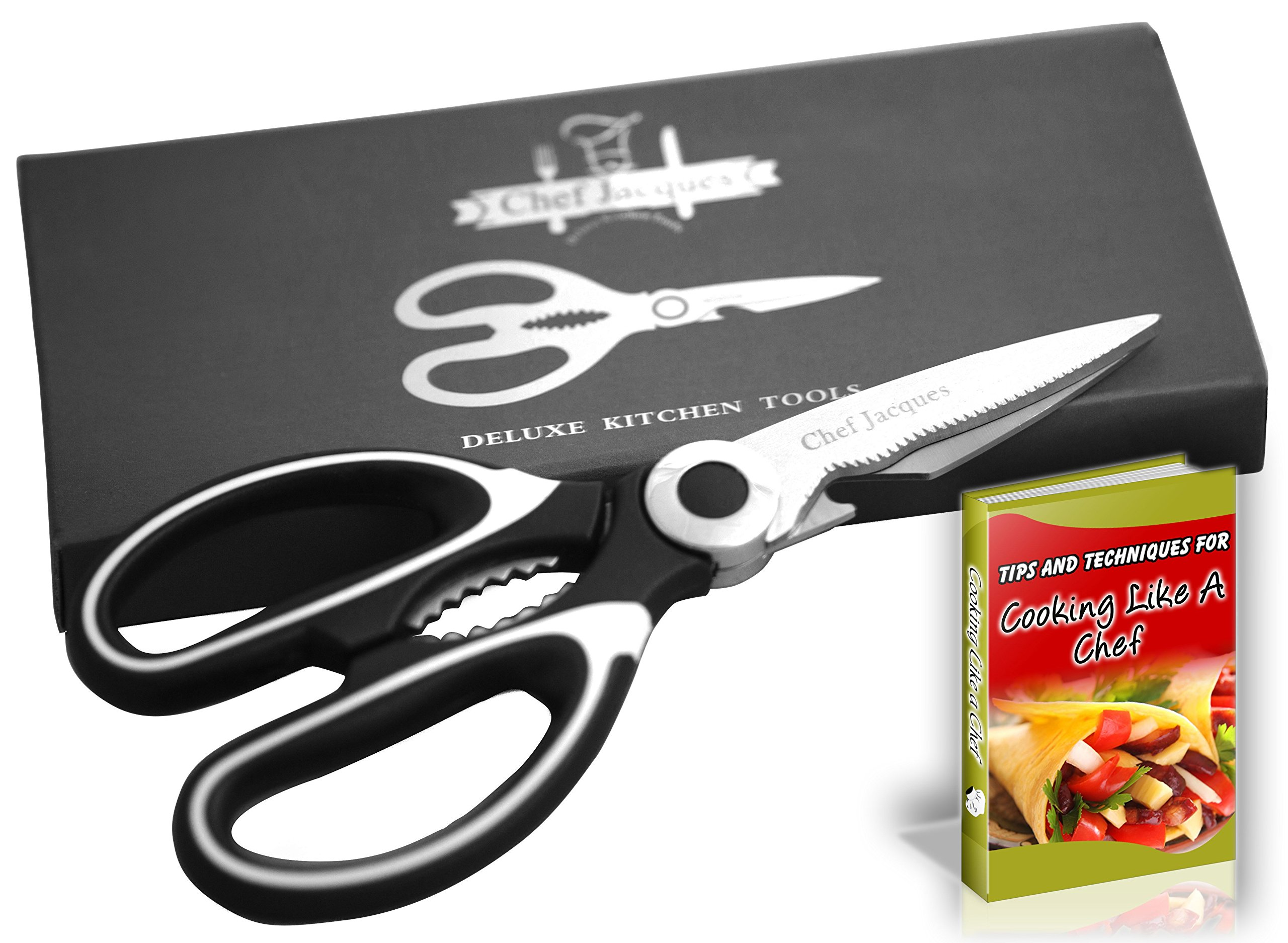 Chef Jacques Ultra Sharp Premium Heavy Duty Kitchen Shears, Stainless Steel Multi-Function Kitchen Scissors for Meat, Chicken, Poultry, Vegetables, Herbs, Bottle Opener, Fish Scale Scraper