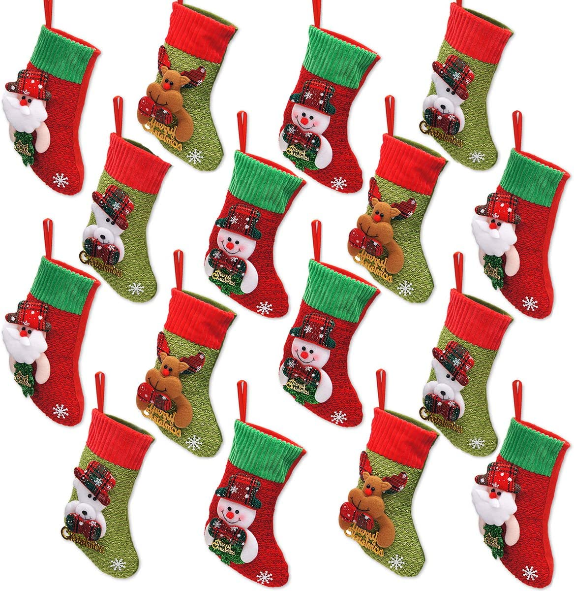Limbridge Mini Christmas Stockings 16 Pack 8 Inches 3d Kids Glitter Xmas Tree Santa Claus Snowman Reindeer Gift Card Silverware Holders Small Personalized Holiday Treat Bags Home Kitchen