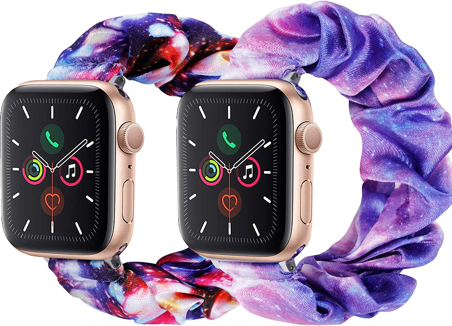 2 Pack Compatible with Apple Watch Band 38mm 40mm 42mm 44mm, Cute Pattern Printed Scrunchie Apple Watch Band for Women, Bracelet Replacement Wristbands(2 Pack-No.06+07, 42MM 44MM)