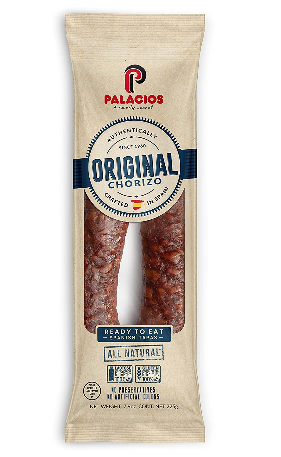 Chorizo Autentico Mild by Palacios. Imported from Spain. 7.9 Ounce
