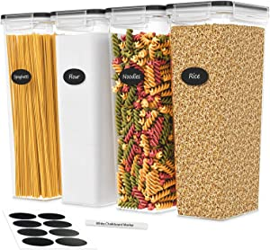 DWËLLZA KITCHEN Tall Airtight Food Storage Containers with Lids - for Spaghetti, Noodles & Pasta - 4 Piece Set/All Same Size - Pantry & Kitchen Organization - Plastic Canisters Keeps Food Fresh & Dry