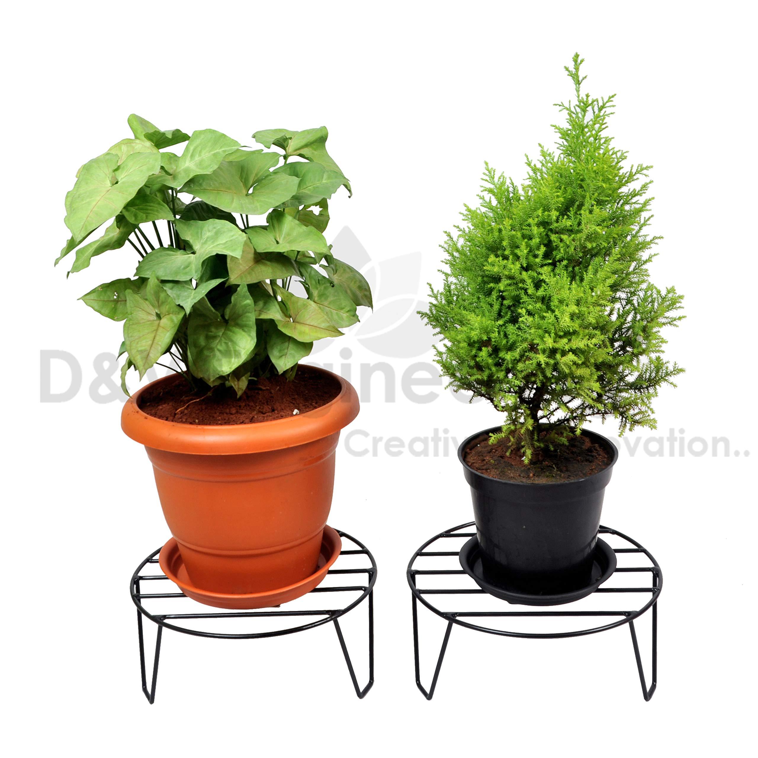 D&V ENGINEERING Round Iron Home Garden Indoor Balcony Decor Floor Flower Plant Stand Pot Rack (11inch, Black) - Set of 2 product image