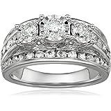 2.0 Carat Diamond, Channel and Prong Set 10kt White Gold 3-Stone Miracle Diamond Wedding Ring Set (I-J, I2-I3) by La4ve Diamo