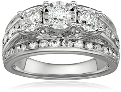 10k white gold 3 stone miracle diamond wedding ring set 2cttw i j color - 3 Stone Wedding Rings
