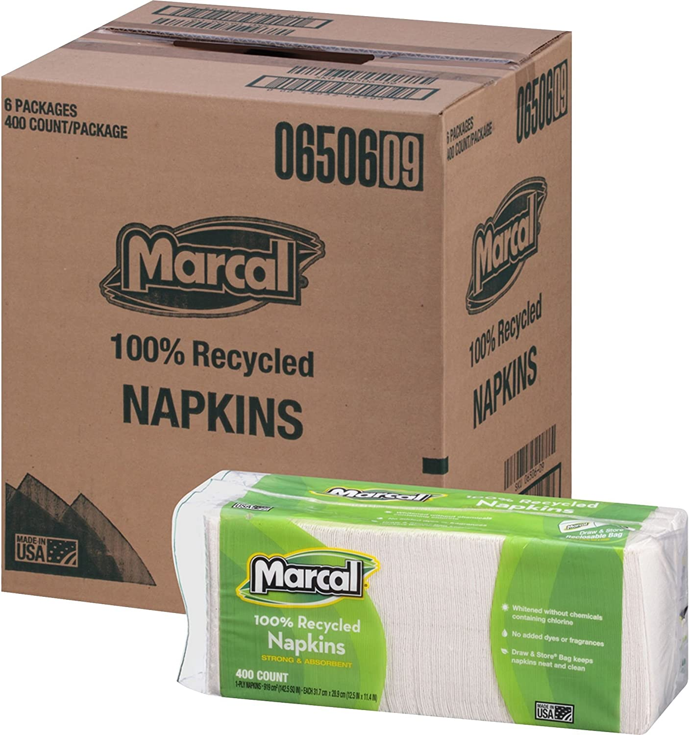 Marcal Paper Luncheon Napkins 100% Recycled, 1-Ply, 400/Pack, 12.5 x 11.4 inch