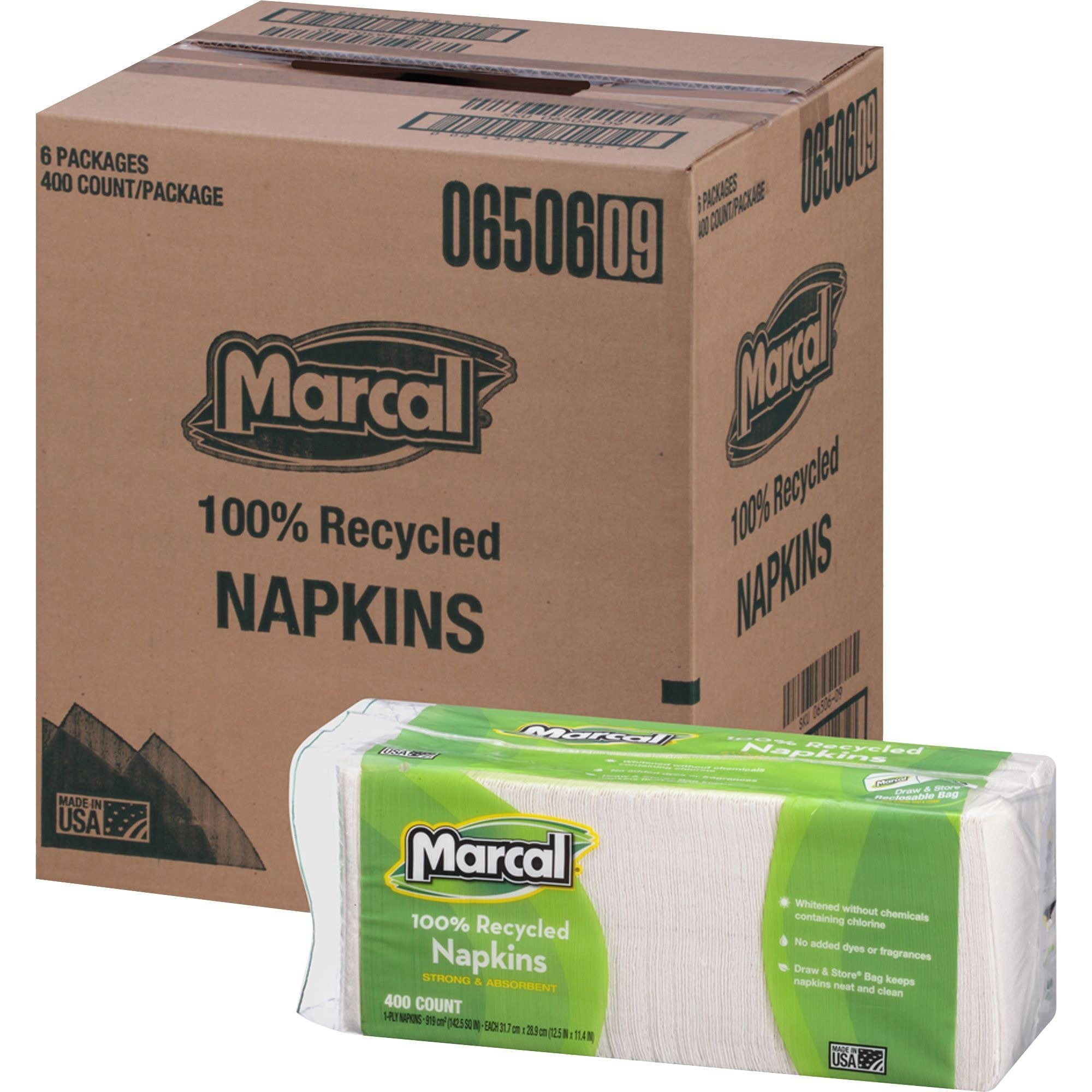 Marcal 6506CT Luncheon Napkin, Single-Ply, 12-1/2-Inch x11-1/4-Inch, 2400/CT, White