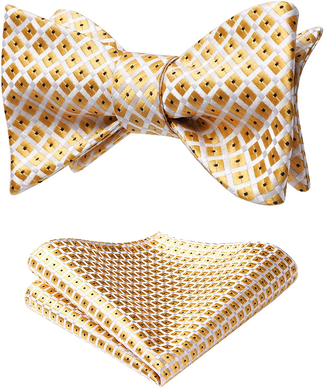 HISDERN 3pcs Mixed Design Classic Mens Self-Tie Bow tie /& Pocket Square Multiple Sets