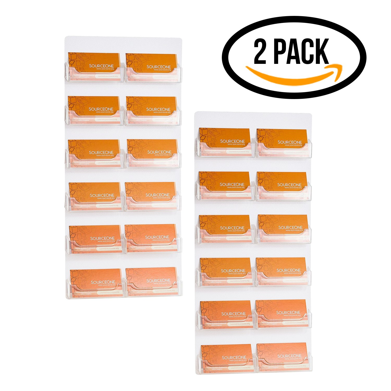 Source One 12 Pocket 2 Piece Set Wall Mount Business Card Holders Displays (12P-BC-WM-Cl-2PC)