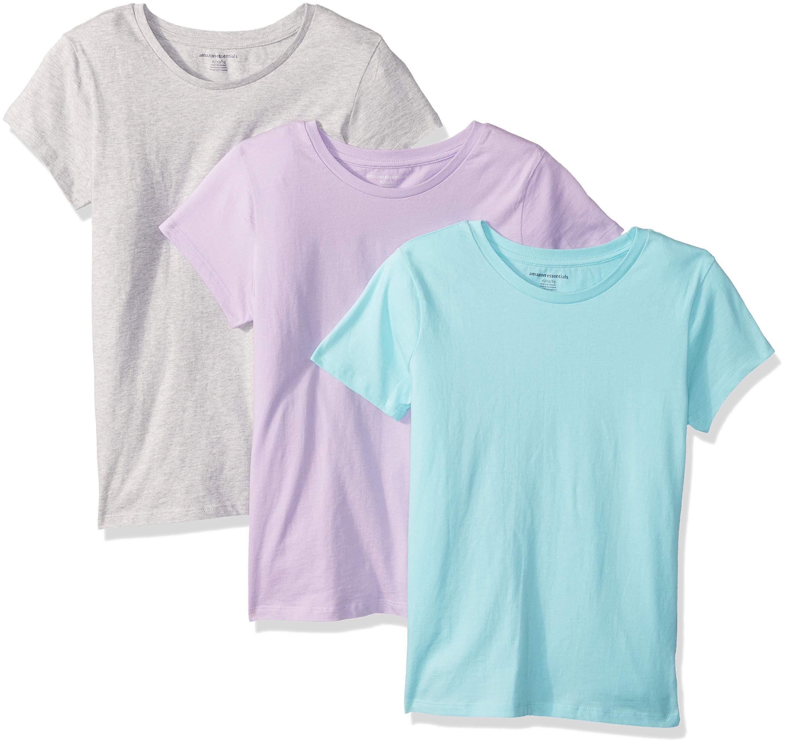 Amazon Essentials Girls' 3-Pack Short Sleeve T-Shirt