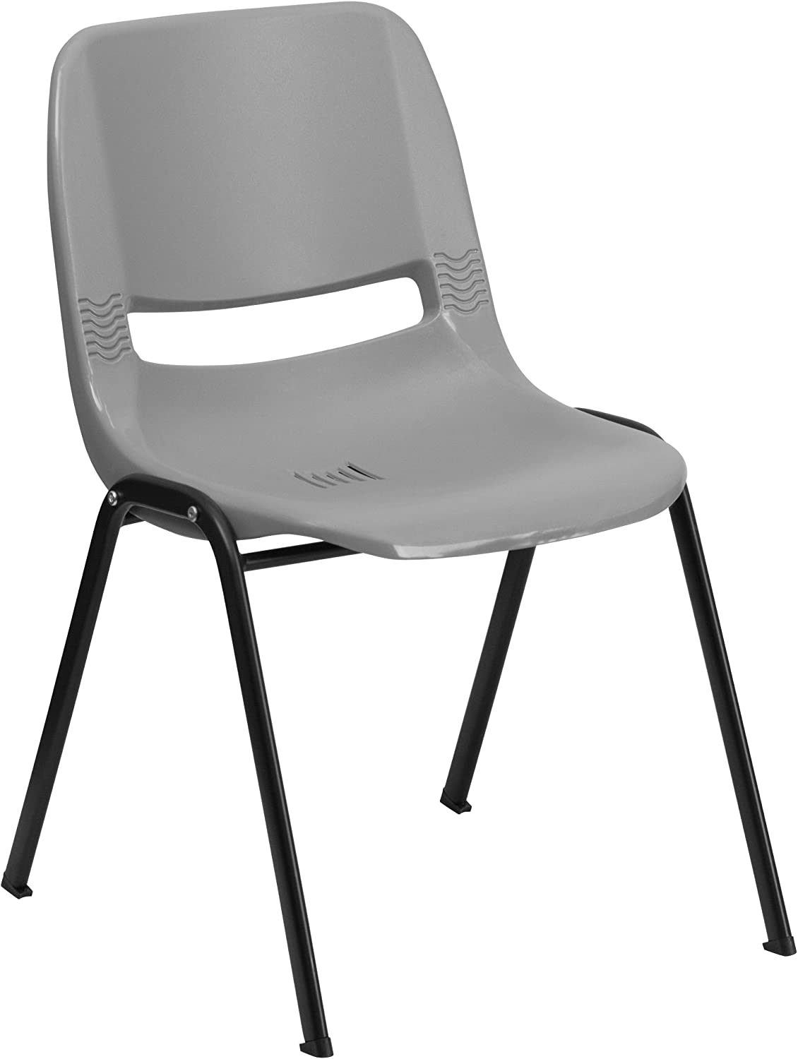 Flash Furniture HERCULES Series 880 lb. Capacity Gray Ergonomic Shell Stack Chair with Black Frame