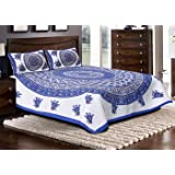 Jaipuri haat Traditional Print Cotton Double Bedsheet with 2 Pillow Covers– MultiColor