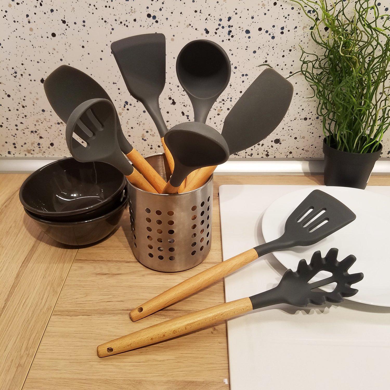 Cooking Utensils,8 Piece Kithcen Utensils Set,Shxmlf Wood Utensils Set Wood Spoon Spatula Set, Non-stick Utensil Set,Gray Kitchen Utensils, Eco-friendly(8) by shxmlf (Image #3)