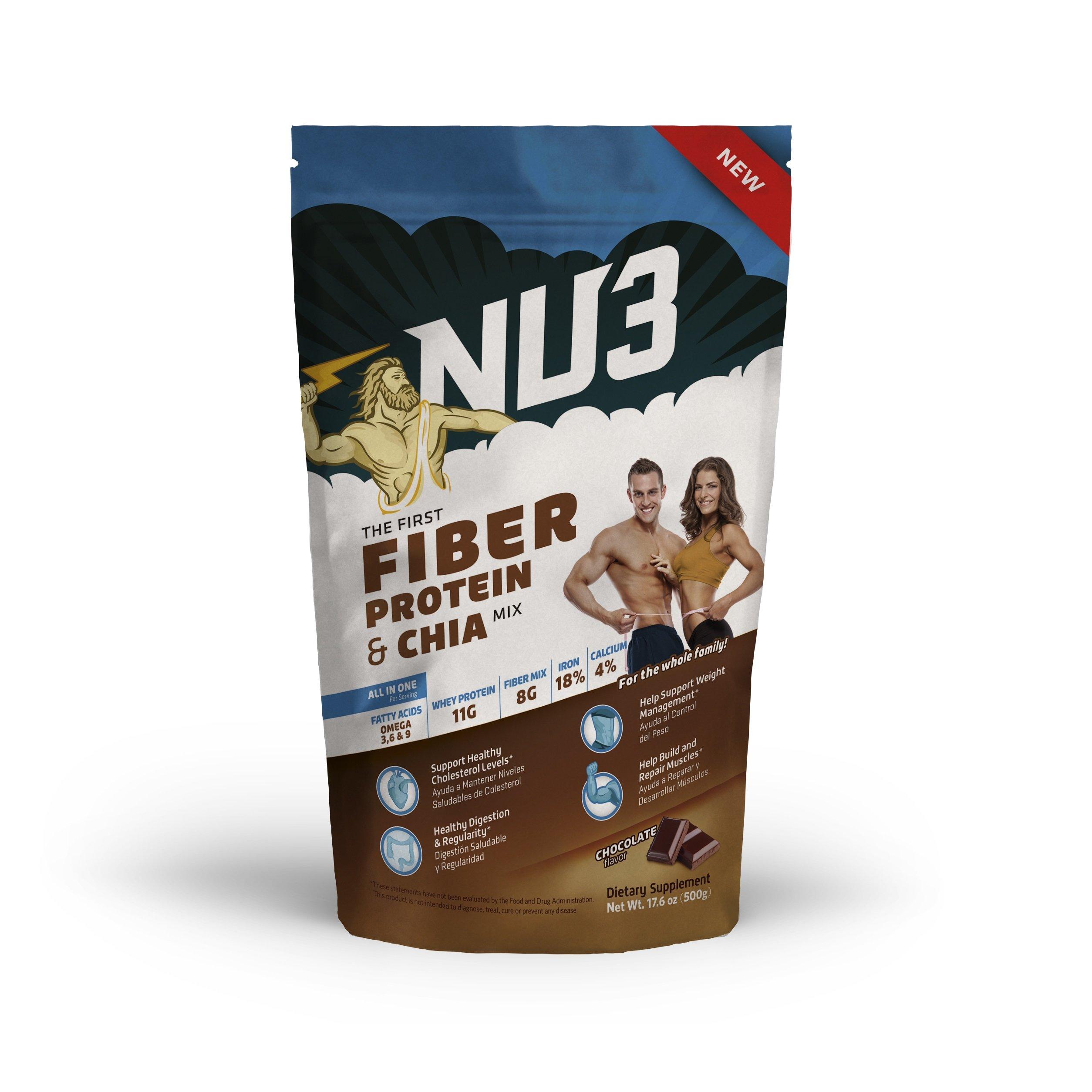 NU3 Fiber, Protein & Chia - Chocolate - 17.60 Ounce
