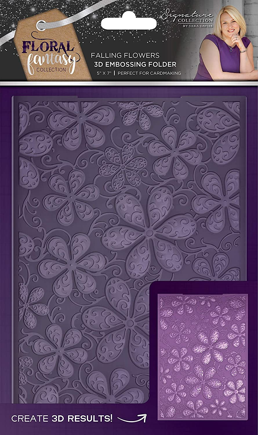 Sara's Signature S-FF-EF5-3D-FALL Floral Fantasy Falling Flowers 5' x 7' 3D Embossing Folder, White Crafter' s Companion